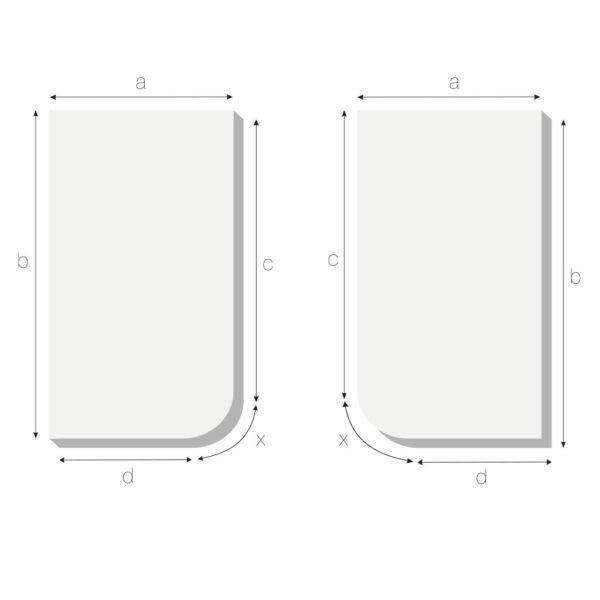 Matratze mit eine abgerundeten Ecke recht oder links