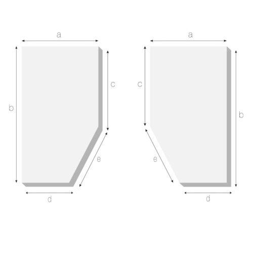 Matratze mit schraegem Eckabschnitt rechts oder links